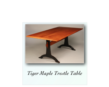 Tiger Maple Trestle Table Handmade Trestle Table