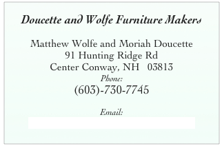 Matthew Wolfe Furniture Maker Moriah Doucette Furniture