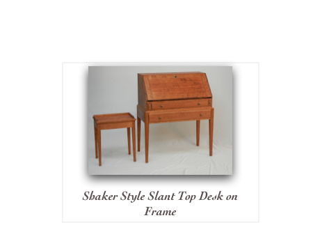 Shaker Slant Front Desk on Frame Cherry Slant top desk